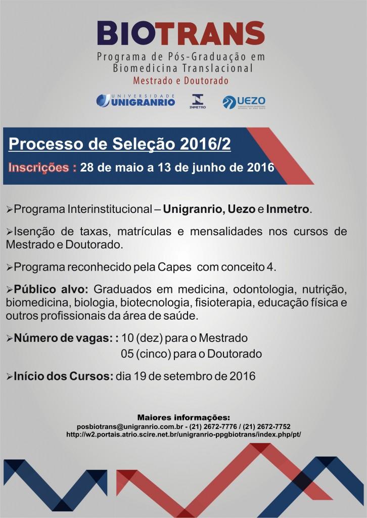 Seleção para o Mestrado e Doutorado em Biomedicina Translacional