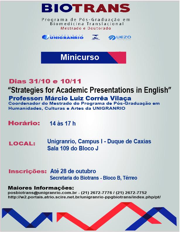 Minicurso sobre Apresentações Acadêmicas em Inglês - Prof. Dr. Márcio Vilaça
